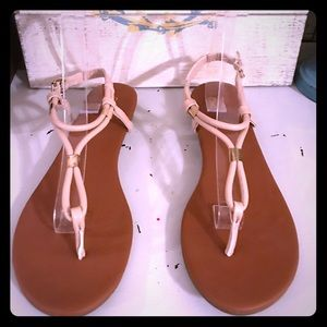 New York & Company nude strappy sandal 10